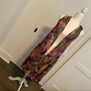 Kate & Mallory floral sheer long flowy vest